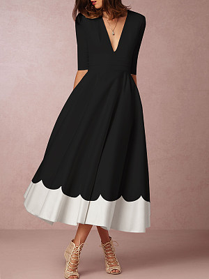 Round Neck  Color Date Block Maxi Dress