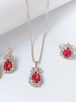 Berrylook coupon: Water Drop Necklace Earrings Ring Jewelry