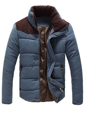 High Neck Color Block Men Pocket Padded Coat