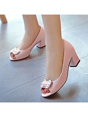 Berrylook Plain Chunky High Heeled Peep Toe Date Office Peep-Toe Heels shoppers stop, shoping,