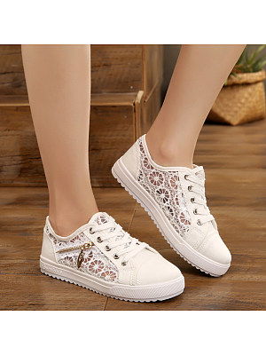 Lace Flat Lace Round Toe Casual Sneakers, 7813583