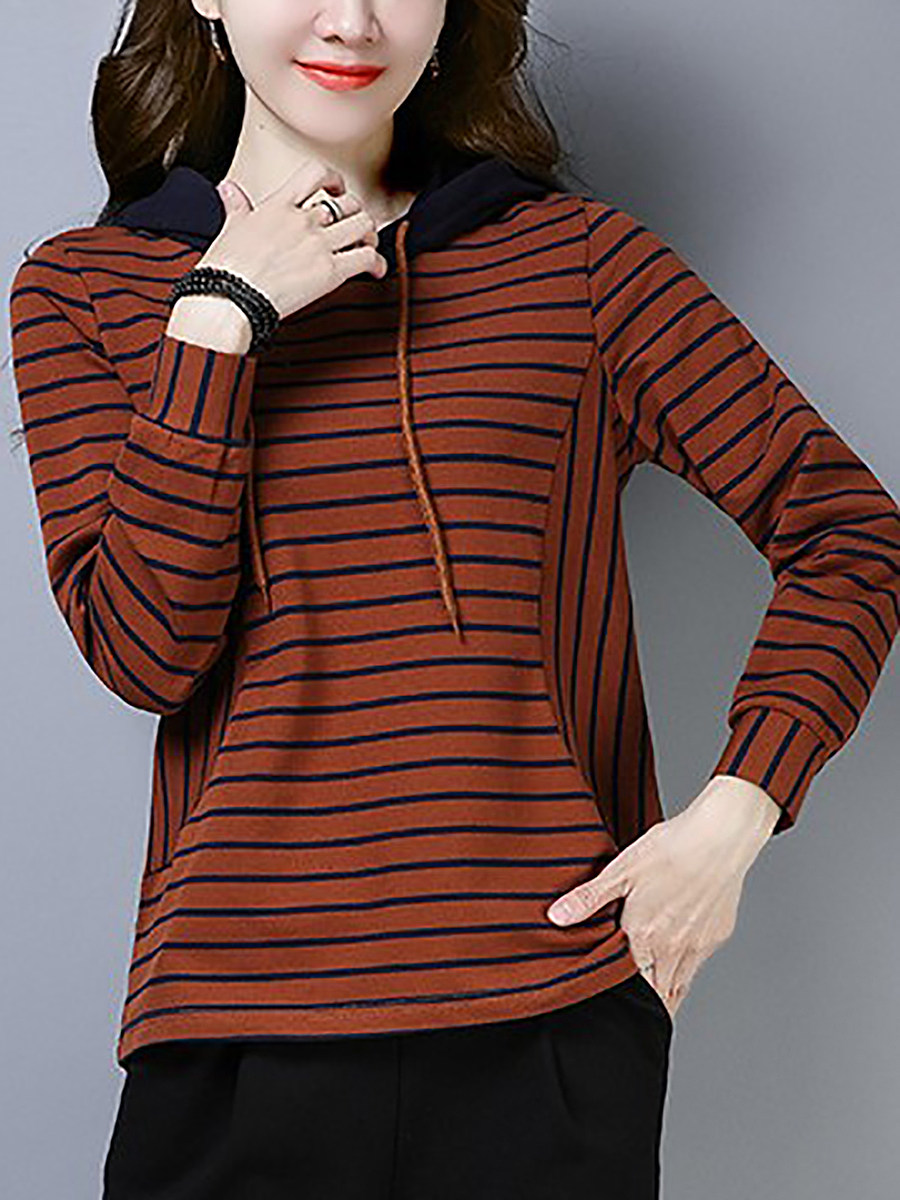 Casual Hat Collar Stripe Long Sleeve Sweatshirt