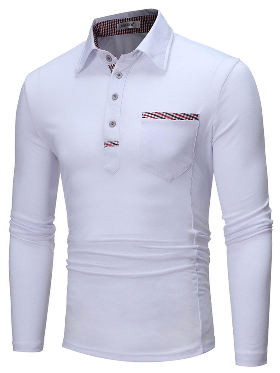 Polo Collar Men Contrast Plaid Trim Patch Pocket T-Shirt