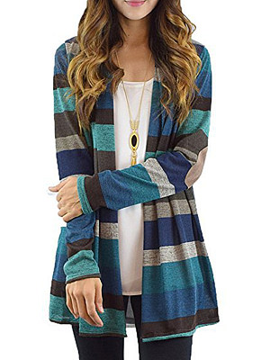 Patchwork Stripes Knit Cardigans фото
