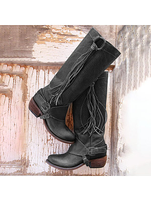 berrylook Plain Chunky Low Heeled Round Toe Casual Date Outdoor Knee High High Heels Boots