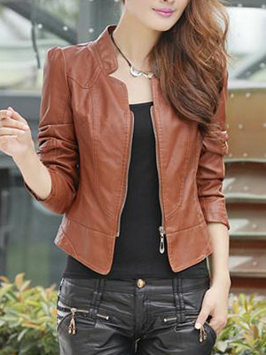 Plain Zips Faux Leather Biker Jacket фото
