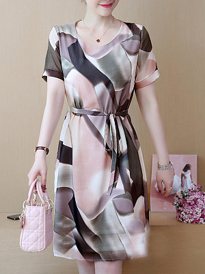 Round Neck Print Shift Dress, 7201005