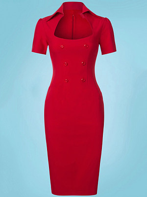 Fold-Over Collar Double Breasted Plain Bodycon Dress, 4387493