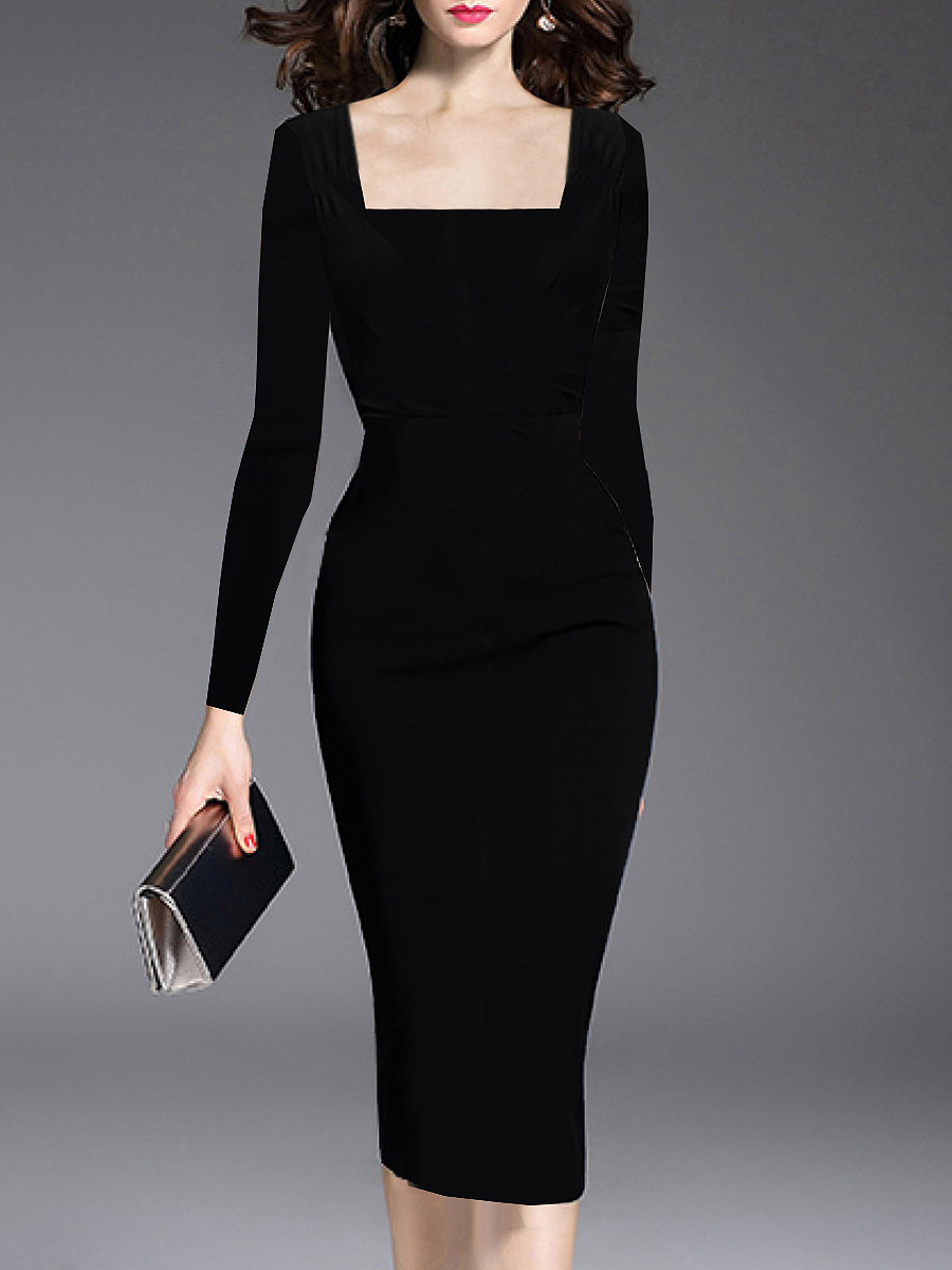 BerryLook Boat Neck  Plain Bodycon Dress