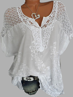 a84f82a697d V Neck Patchwork Embroidery Blouses