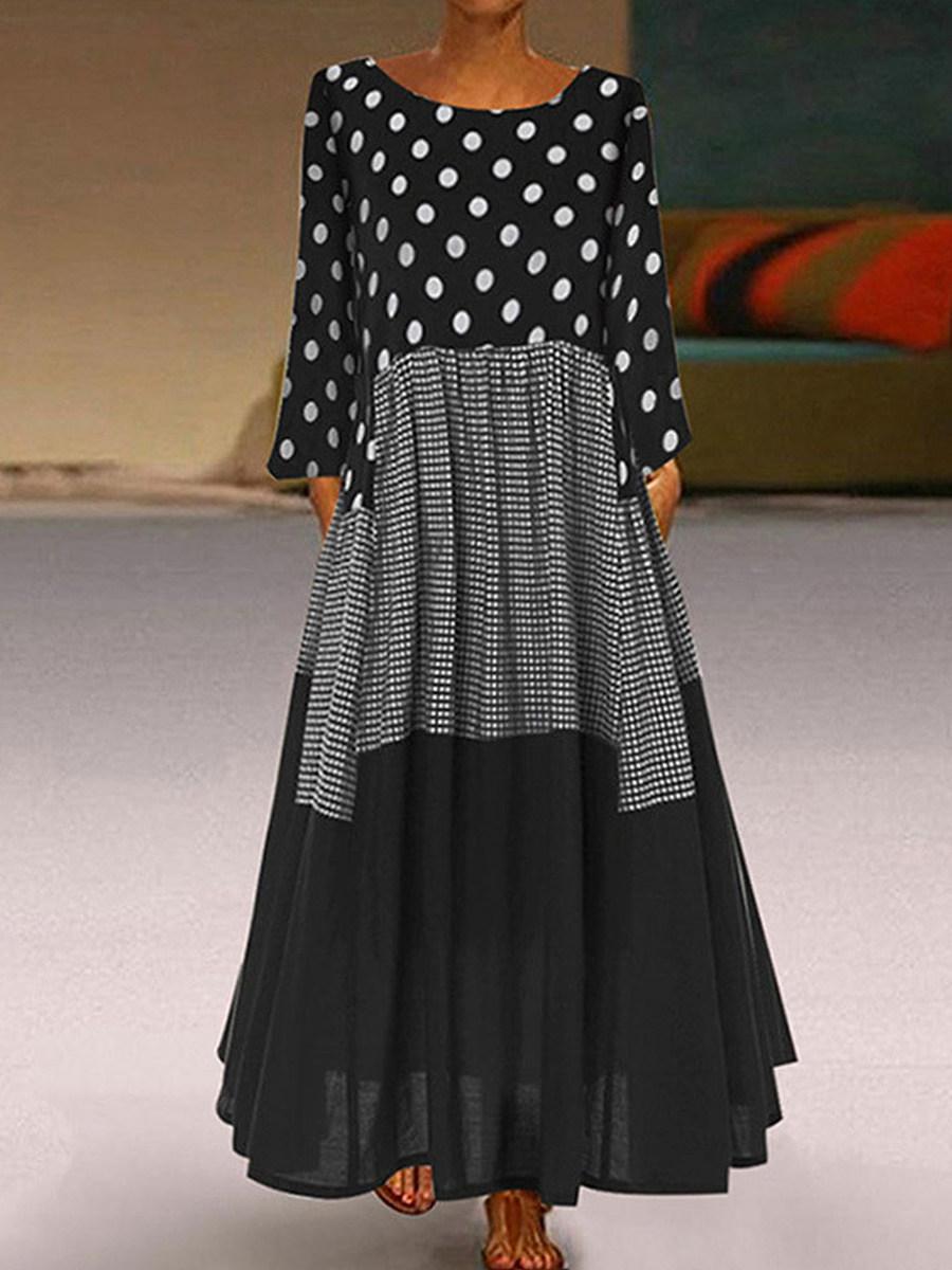BerryLook Round Neck  Polka Dot Maxi Dress