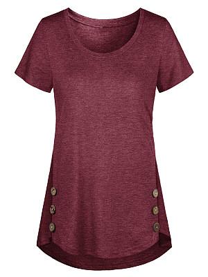 Round Neck Decorative Buttons Plain Short Sleeve T-Shirts фото