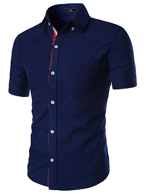 Fitted Patch Pocket Plain Men Shirts фото