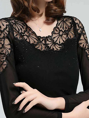 Autumn Spring Winter Polyester Women Round Neck Decorative Lace See-Through Glitter Plain Long Sleeve T-Shirts