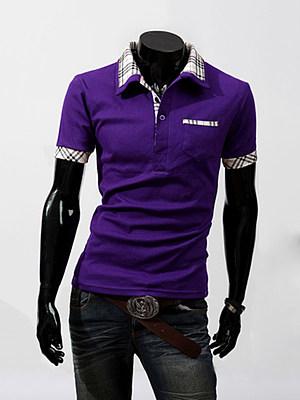 Polo Collar Basic Patch Pocket Plaid T-Shirt фото
