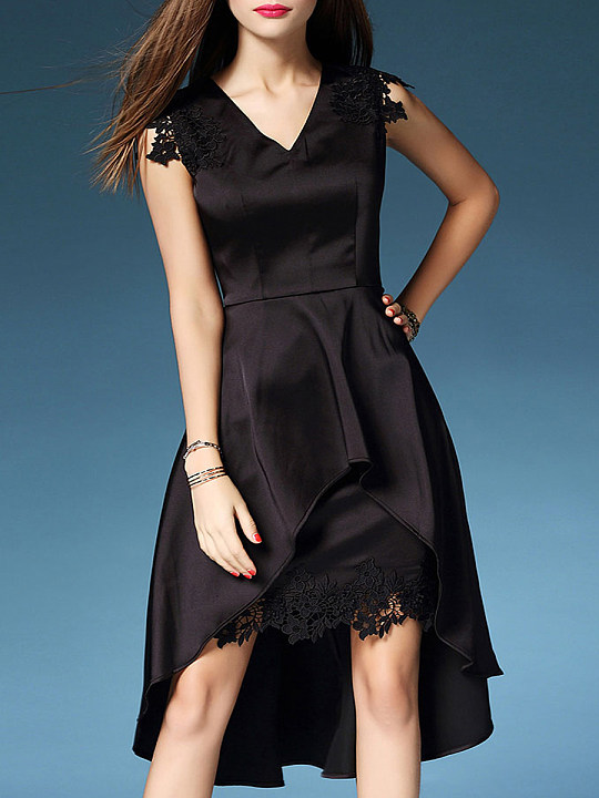 V-Neck Decorative Lace Plain Polyester Evening Dresses