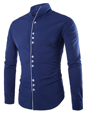 Band Collar Contrast Trim Men Shirts фото