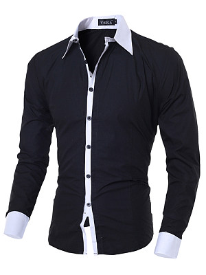 Turn Down Collar Contrast Trim Men Shirts фото