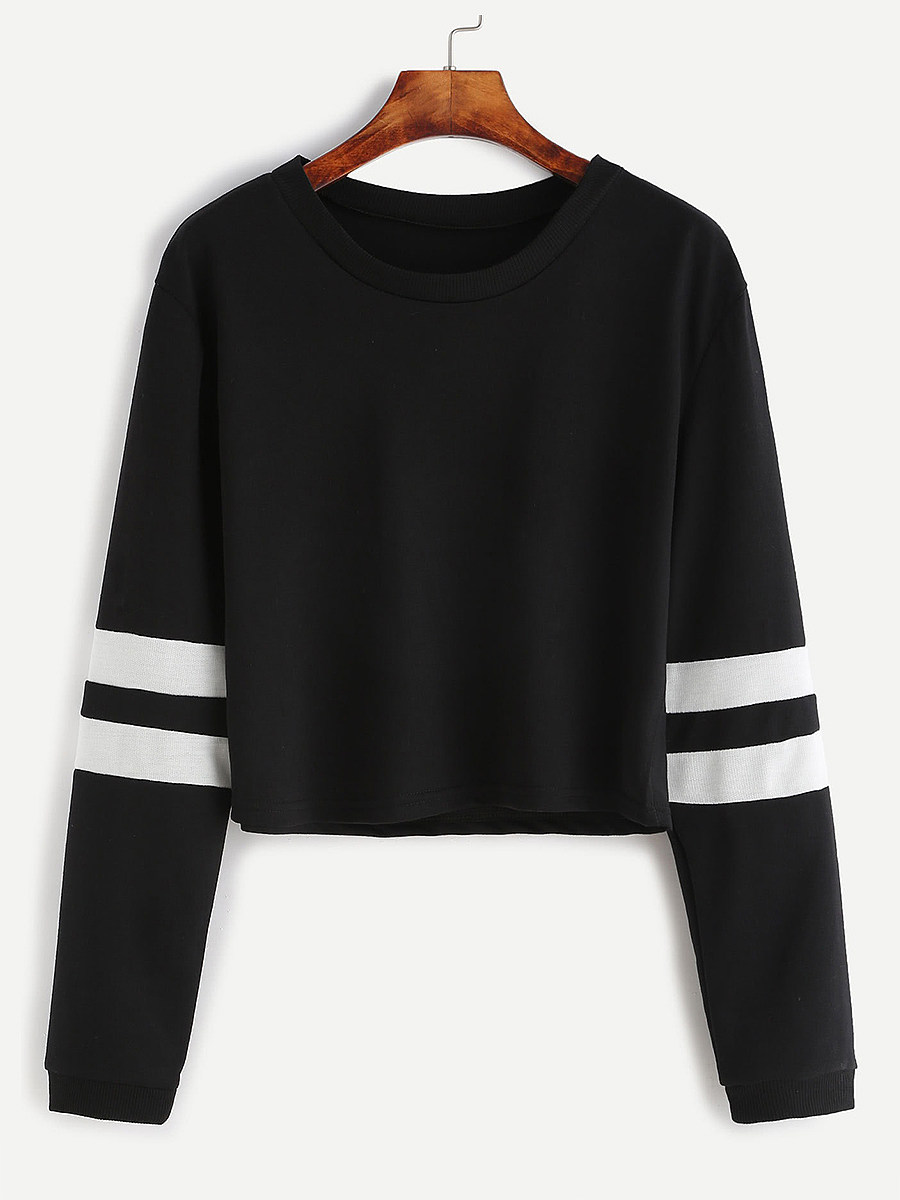 Casual  Contrast Stitching  Colouring  Shoulder Sleeve  Long Sleeve  Sweatshirt - from $13.95
