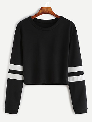 Casual Contrast Stitching Colouring Shoulder Sleeve Long Sleeve Sweatshirt, 8919911