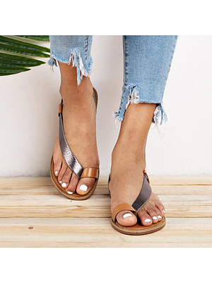 Color Block Flat Peep Toe Casual Travel Flat Sandals, 7064850