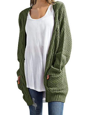 Patchwork  Casual  Plain  Long Sleeve  Knit Cardigan