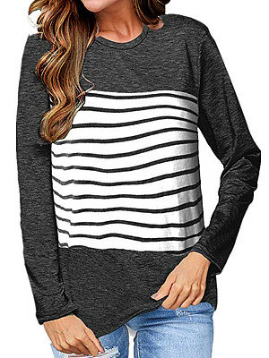 Round Neck Patchwork Casual Striped Long Sleeve T-Shirts, 8033619