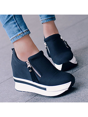 Plain  High Heeled  Elastic  Round Toe  Casual Sport Sneakers heel_height:high heeled, material:elastic, occasion:casual,sport, outsole_material:rubber, package_included:1 * pair of shoes, pattern_type:plain, season:autumn,spring, toe:round toe, length