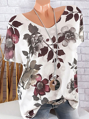 Round Neck Floral Printed Short Sleeve T-Shirts, 7117618