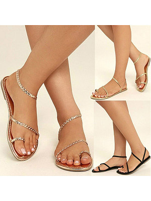 Bohemian Flat Ankle Strap Peep Toe Casual Flat Sandals, 4696051, BERRYLOOK  - buy with discount