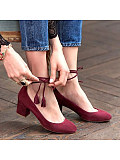 Plain  Chunky  Mid Heeled  Ankle Strap  Round Toe  Date Office Travel Pumps