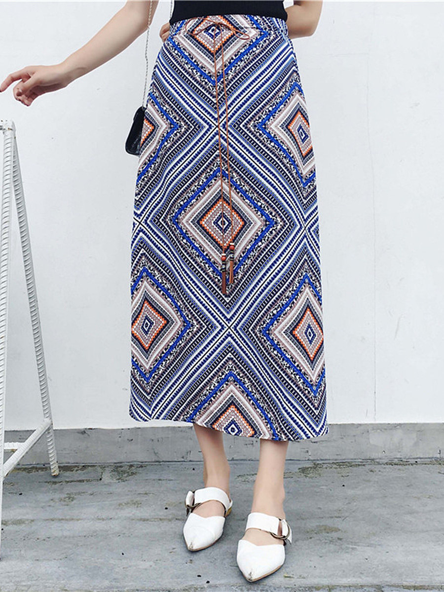 Elastic Waist  Geometric Printed  Flared Maxi Skirt