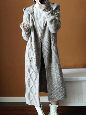 Hooded  Plain  Long Sleeve Coats