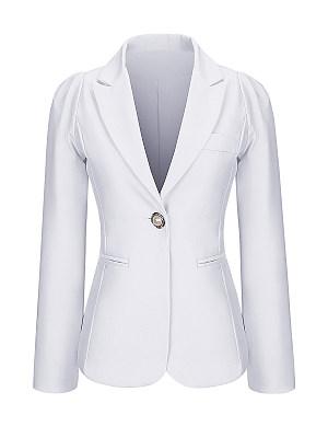 Single Button Notch Lapel Plain Plus Size Puff Sleeve Plus Size Blazer, 3353456