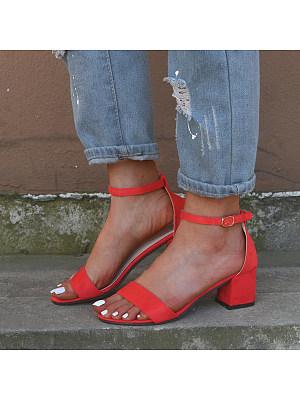 Plain  Velvet Ankle Strap Peep Toe Date Dress Sandals