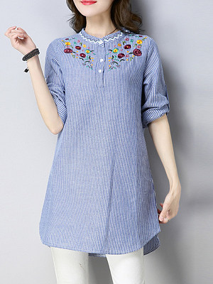 Round Neck Patchwork Elegant Embroidery Striped Long Sleeve Blouse, 8526814