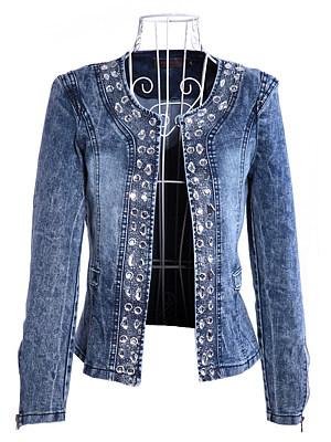 Collarless Diamante Plain Jacket фото