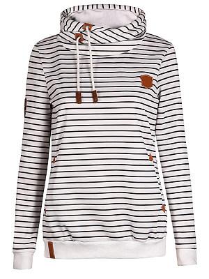 Hooded Drawstring Striped Long Sleeve Hoodies фото