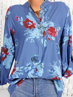 Band Collar Loose Fitting Print Blouses