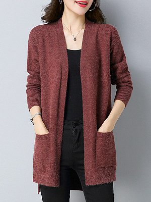 Elegant Plain Long Sleeve Knit Cardigan, 9498655