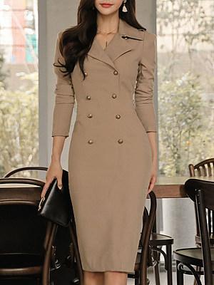 Fold Over Collar Decorative Buttons Plain Bodycon Dress, 5776143