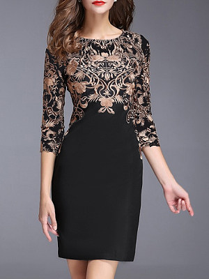 Round Neck  Abstract Print Printed Bodycon Dress