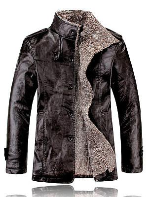 High Neck Fleece Lined Men PU Leather Coat