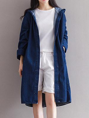 Hooded Plain Long Sleeve Trench Coats, 6400526