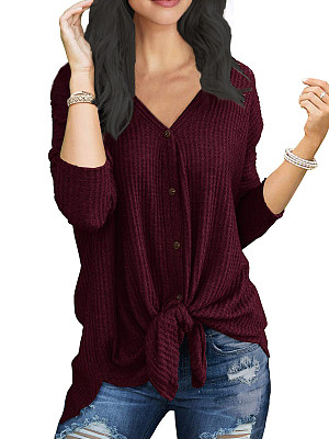 V Neck Lace Up Plain Long Sleeve T-Shirts, 6483138