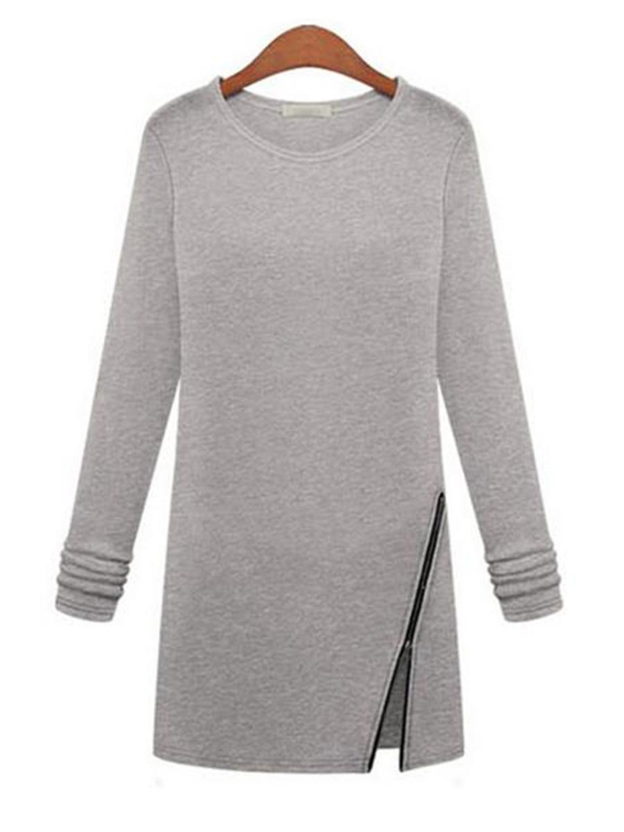 BerryLook Round Neck  Zipper  Plain Shift Dress