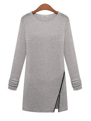 Round Neck Zipper Plain Shift Dress