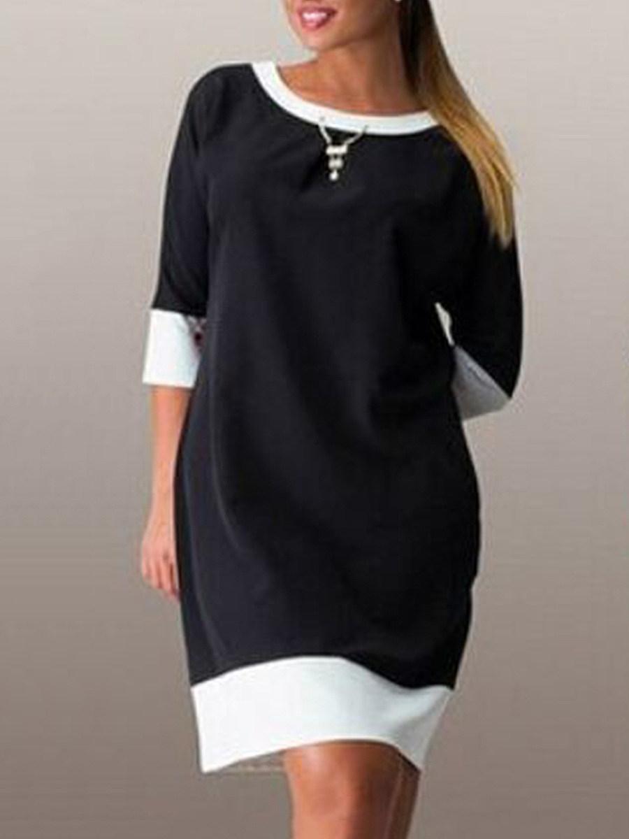 Round Neck  Color Block Plus Size Bodycon Dresses
