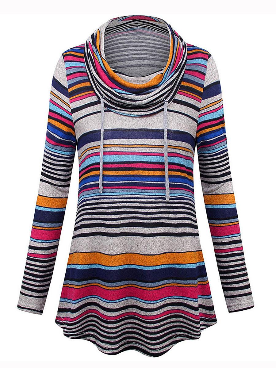 Casual  Contrast Piping  Asymmetric Stripe  Long Sleeve Sweatshirt