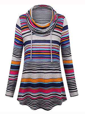 Casual Contrast Piping Asymmetric Stripe Long Sleeve Sweatshirt фото